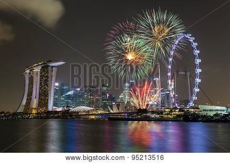 Singapore national day fireworks celebration