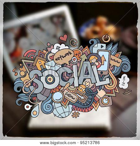 Social hand lettering and doodles elements and symbols emblem