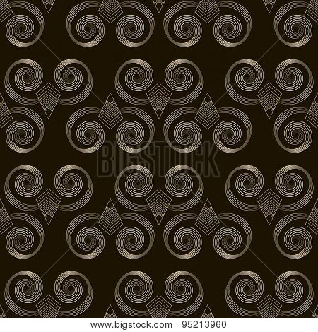 Seamless Pattern Monochrome Art Deco Ornament With Stylized Geometric Elements Background. Repeating