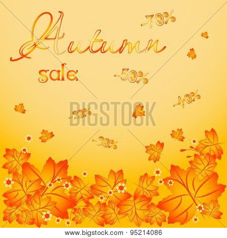 Autumn Background With Falling Maple Leaves