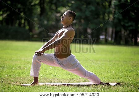 High Lunge Pose In Park