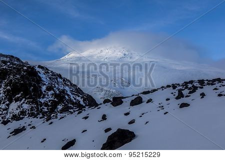 Volcán Cayambe, Rocks, Fresh Snow And Glaciares