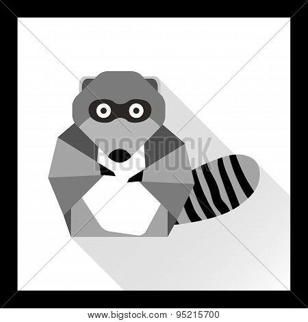 Raccoon In Flat Style