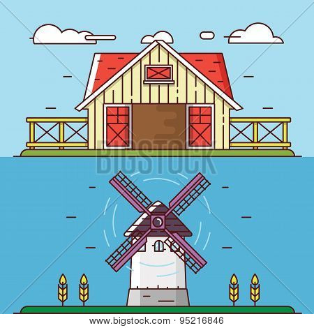 Vector Linear Flat Rural Landscapes. Granary And Windmill - Objects For Design, Labels Or Banners