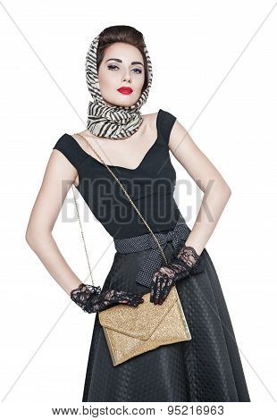 Young Beautiful Woman In Retro Pin-up Style With Purse Isolated