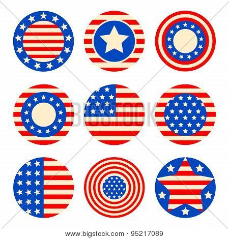 set icons with symbols of the USA