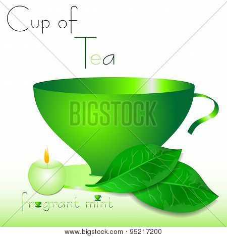 Abstract White Background With Green Cup Of Tea And Mint Leaves