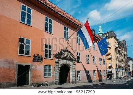 French Tricolours Flag And Flag Of The European Union Decorate B
