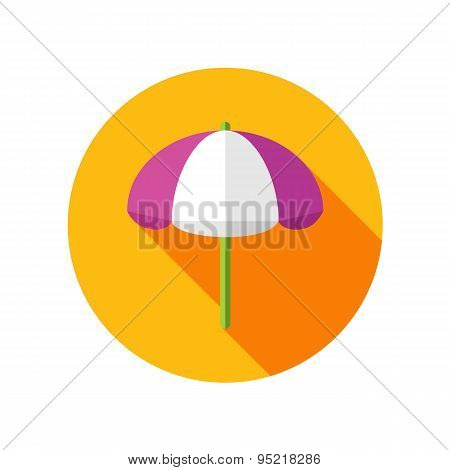 Beach Parasol Flat Icon With Long Shadow