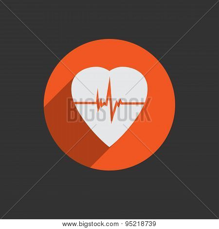 Defibrillator heart icon isolated on red background.