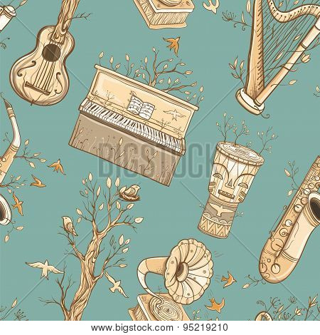 Seamless Vector Pattern With Musical Instruments, Trees, Birds.