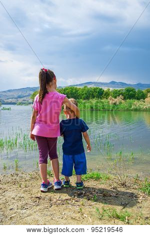 Children On The Shore Of Pozzillo Lake, Sicily