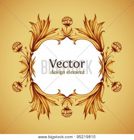 Elegant vintage vector background with vintage border decoration