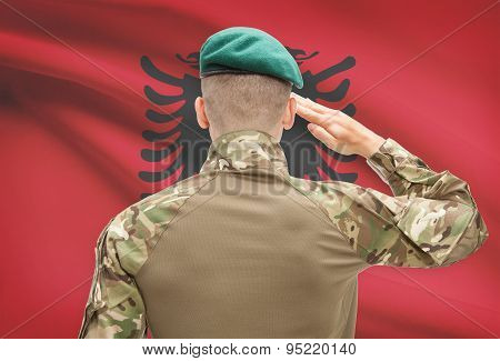 National Military Forces With Flag On Background Conceptual Series - Albania