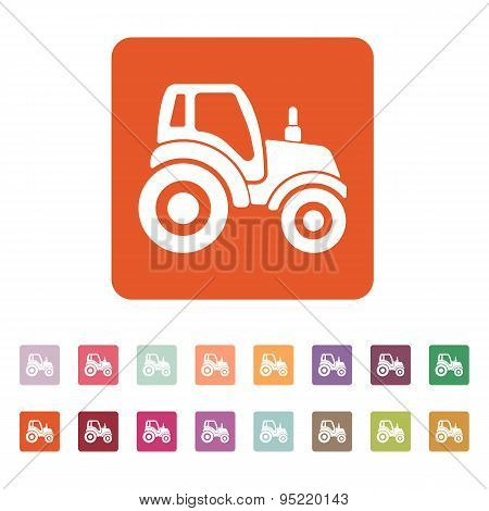 The Tractor Icon. Agrimotor Symbol. Flat