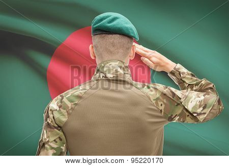 National Military Forces With Flag On Background Conceptual Series - Bangladesh