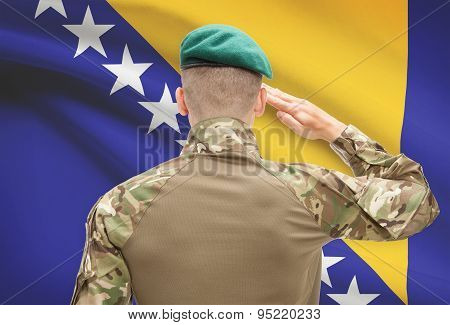 National Military Forces With Flag On Background Conceptual Series - Bosnia And Herzegovina