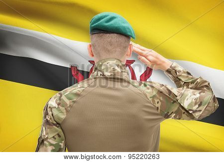 National Military Forces With Flag On Background Conceptual Series - Brunei