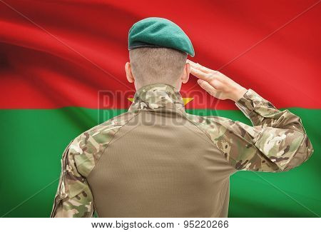 National Military Forces With Flag On Background Conceptual Series - Burkina Faso