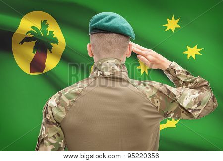 National Military Forces With Flag On Background Conceptual Series - Cocos (keeling) Islands