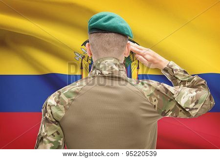 National Military Forces With Flag On Background Conceptual Series - Ecuador
