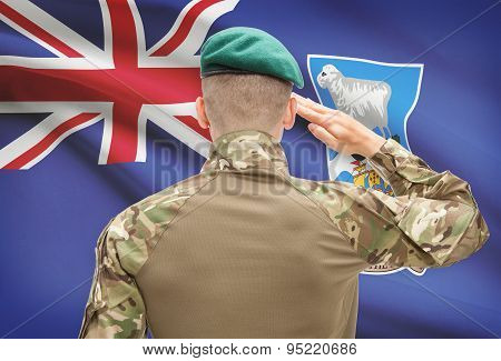 National Military Forces With Flag On Background Conceptual Series - Falkland Islands