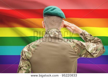 National Military Forces With Flag On Background Conceptual Series - Lgbt People