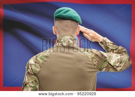 National Military Forces With Flag On Background Conceptual Series - Guam