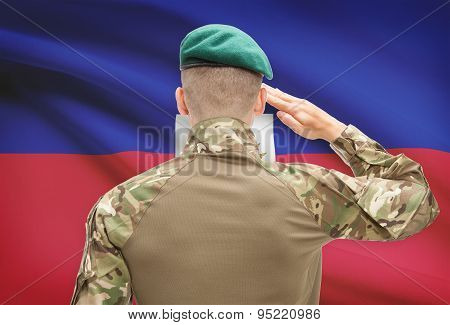 National Military Forces With Flag On Background Conceptual Series - Haiti