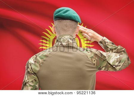 National Military Forces With Flag On Background Conceptual Series - Kyrgyzstan