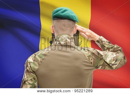 National Military Forces With Flag On Background Conceptual Series - Moldova