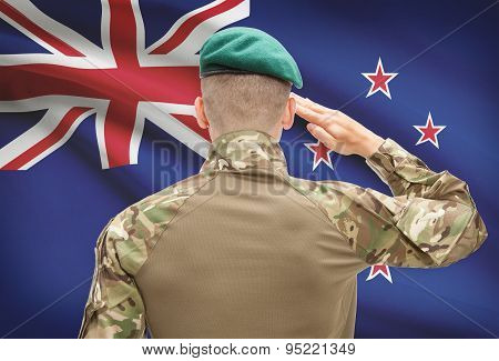 National Military Forces With Flag On Background Conceptual Series - New Zealand
