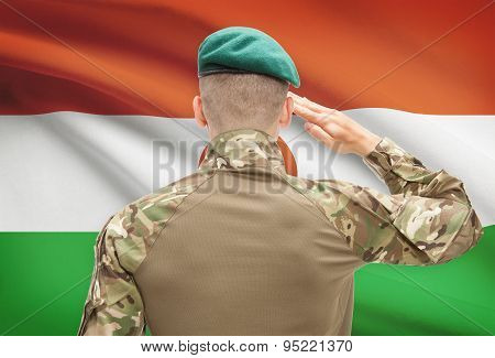 National Military Forces With Flag On Background Conceptual Series - Niger