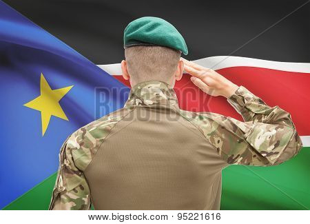 National Military Forces With Flag On Background Conceptual Series - South Sudan