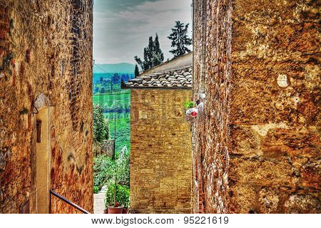 Brick Walls And Countryside In San Gimignano