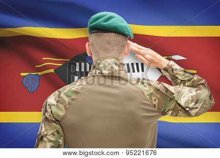 National Military Forces With Flag On Background Conceptual Series - Swaziland