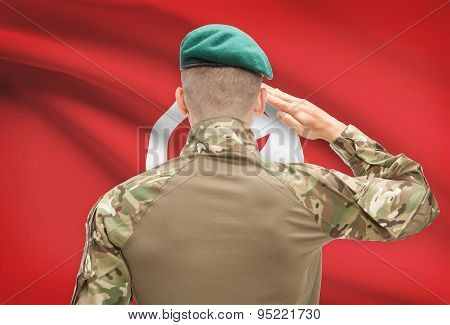 National Military Forces With Flag On Background Conceptual Series - Tunisia