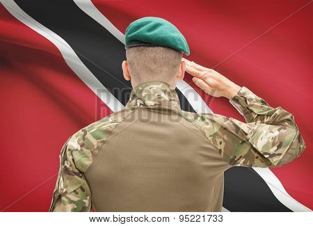 National Military Forces With Flag On Background Conceptual Series - Trinidad And Tobago
