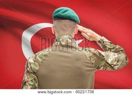National Military Forces With Flag On Background Conceptual Series - Turkey