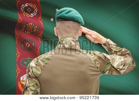 National Military Forces With Flag On Background Conceptual Series - Turkmenistan