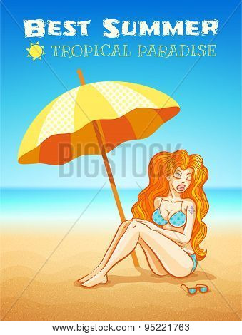 Girl On The Tropical Beach