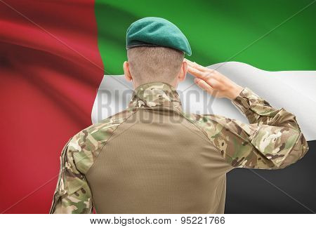 National Military Forces With Flag On Background Conceptual Series - United Arab Emirates
