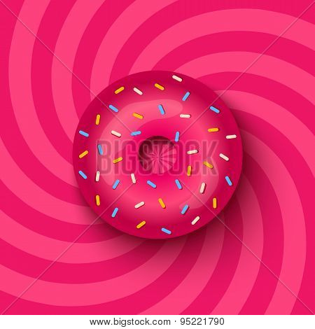 pink donut on hypnotic background