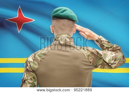 National Military Forces With Flag On Background Conceptual Series - Aruba