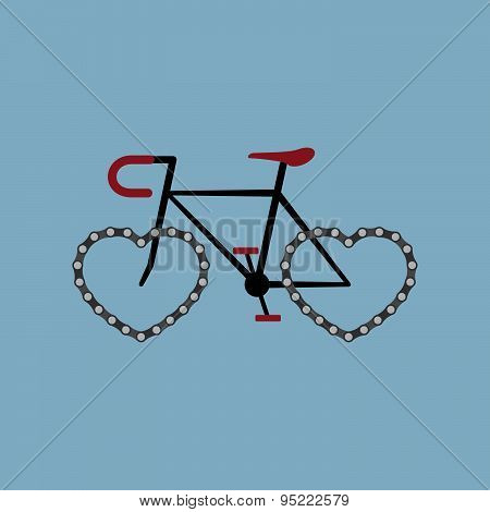 Bicycle With Heart Shape Chain Wheel
