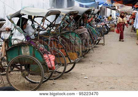 Bicycle Taxis In Indonesia