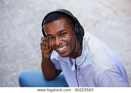 Smiling Black Teen With Headphones