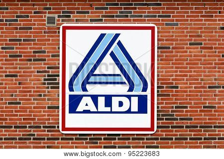 Aldi logo on a facade