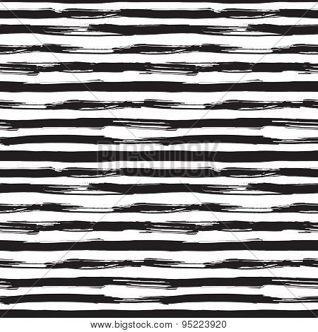Vector seamless pattern with black brush strokes. Monochrome hand drawn texture.
