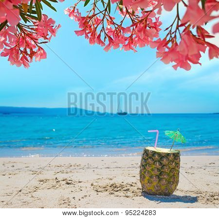 Pineapple With Straw And Umbrella Under Pink Flowers